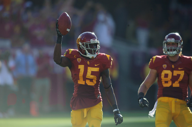 Nelson Agholor was on fire and in rhythm with Kessler the entire game (Charlie Magovern/Neon Tommy).