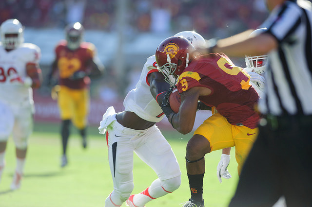 Freshman JuJu Smith was nothing short of impressive against the Cougars (Charlie Magovern/Neon Tommy).