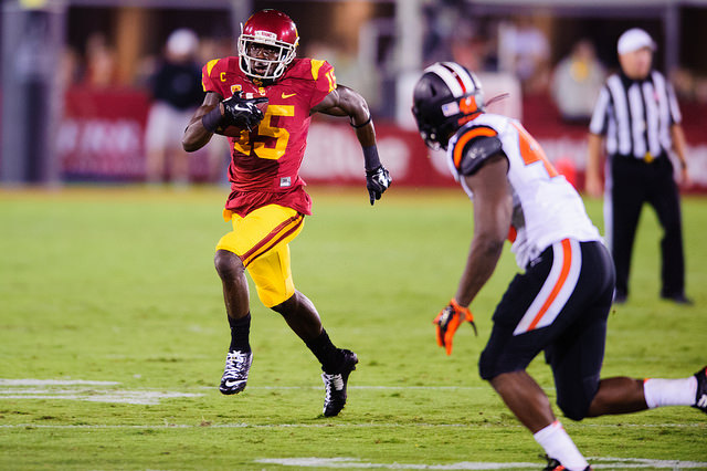 Nelson Agholor can improve his draft stock with an impressive performance at the combine  (Charlie Magovern/Neon Tommy).