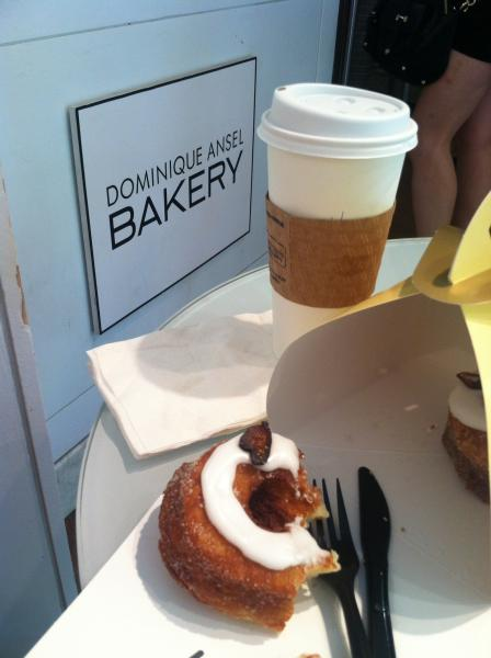 Cronut and coffee heaven at Dominque Ansel Bakery. (Sara Tiano/Neon Tommy)