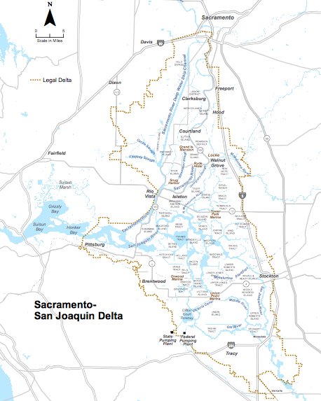 Map of the Sacramento-San Joaqin River Delta from the Bay Delta Conservation Plan website.
