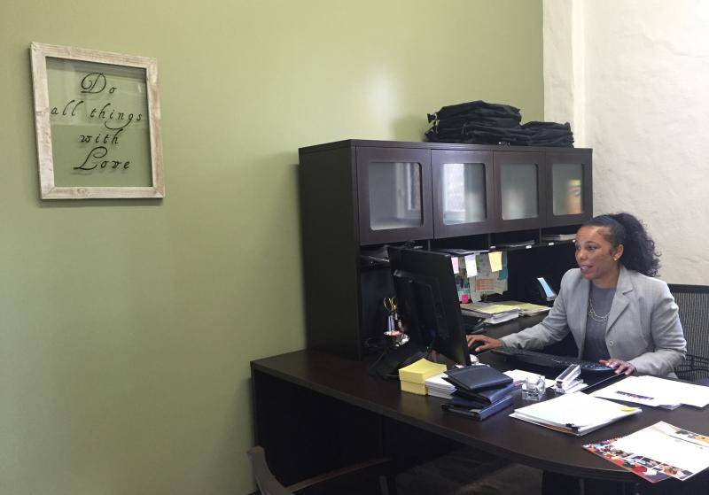 Tasha Carter at her office next to the DLA print center (Diana Lee/ Neon Tommy)