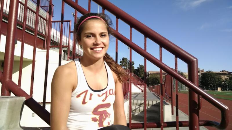 Iuel after practice at the USC track. (Kelly O'Mara)