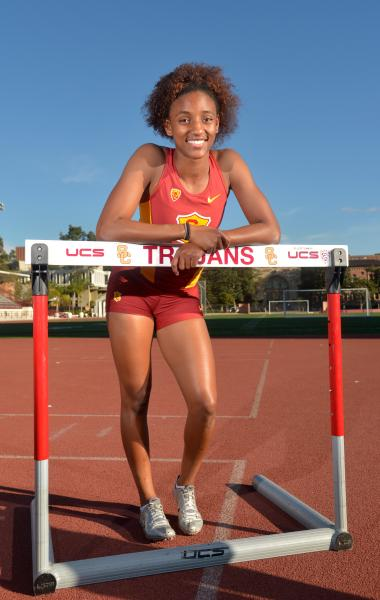 Freshman hurdler Dior Hall (Kirby Lee/USC Sports Information)