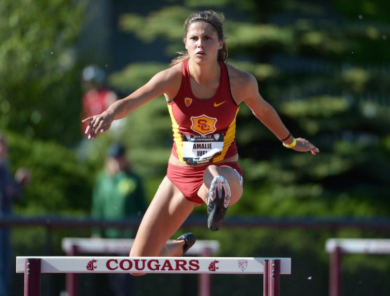 Iuel at the Pac-12 meet in 2014. (USC Sports Information)