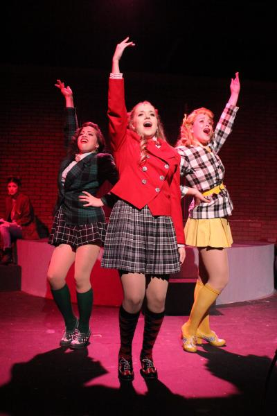 Celeste Castillo, Taylor Bryant, and Kassiani Menas as the Heathers. Photo by Glenda Barnes.