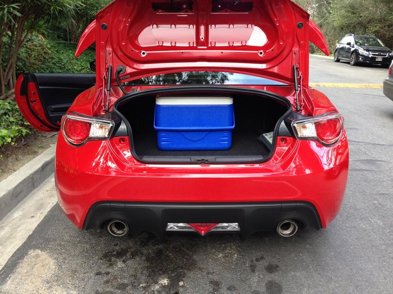 "The FR-S's shallow trunk floor limits space. (Amou ""Joe"" Seto/Neon Tommy)"