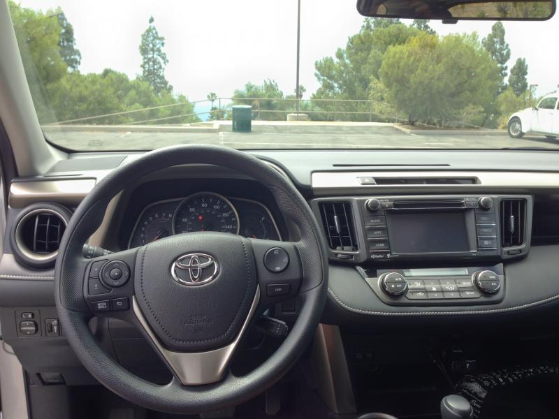 "The RAV4 gets a sporty 3-spoke steering wheel which appears to be similar to the one from the Corolla S. (Amou ""Joe"" Seto/Neon Tommy)"