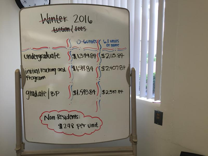 A white board in the Admissions Office at CSULA breaking down tuition. (Rasha Ali / Neon Tommy)