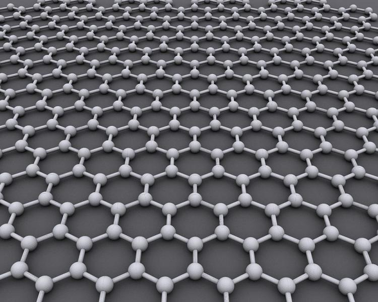 Carbon atoms arranged in a honeycomb pattern comprise a sheet of graphene (AlexanderAlUS).