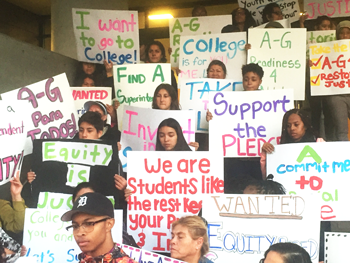 Student demonstrators on the steps at LAUSD (David Merrell)