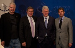 Steve Bing, Founder of Shangri-La Industries; Tim Leiweke, President & CEO, AEG; Former President Bill Clinton; Casey Wasserman, Chairman & CEO, Wasserman Media Group. (Courtesy of Getty Images for AEG)