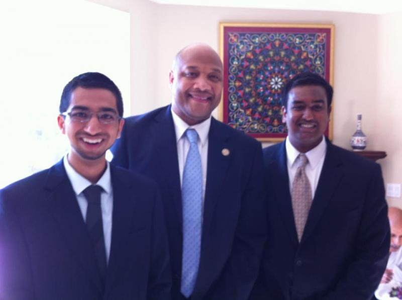 Akbari and his assistant campaign manager Jai Musunuri (right) with U.S. Rep. Andre Carson (D-Indiana) at a Carson campaign event. Carson, who had apparently already heard of the young mayoral candidate, told Akbari to stay positive and deflect negative attacks about his age. (Aziz Akbari for Mayor of Fremont Facebook page)