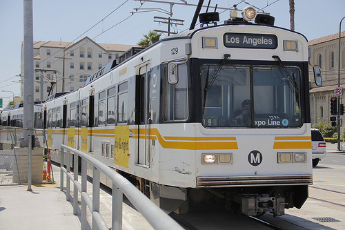 Expo Line passes through the neighborhoods just south of Downtown. (Rosa Trieu/Neon Tommy)