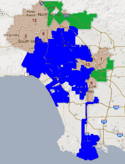 Starting July 1, L.A. city council districts in blue denote a district represented by a member who endorsed Garcetti. Green districts represented by Greuel endorser.