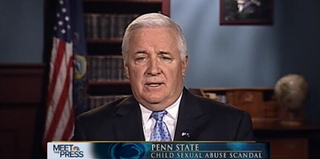 Governor Tom Corbett of Pennsylvania speaks on the Penn State scandal on NBC's Meet the Press