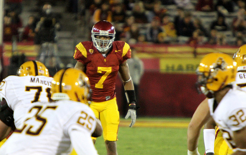 T.J. McDonald has made a series of huge plays for the Trojans. (Shotgun Spratling/Neon Tommy)