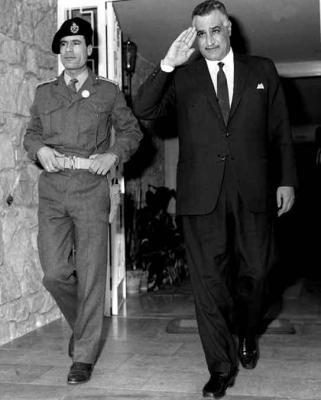 Muammar Gaddafi with Egyptian despot Gamal Nasser in 1969. (Al Ahram, Creative Commons)