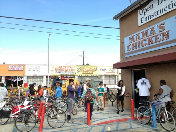 A line forms at Mama's Chicken, one of the restaurants that began stocking fruits and vegetables and was put on the map. (RideSouthLA Twitter)