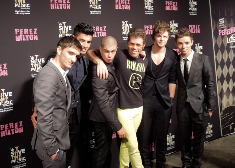 The Wanted and Perez Hilton (Photo by Sarah Mickelson