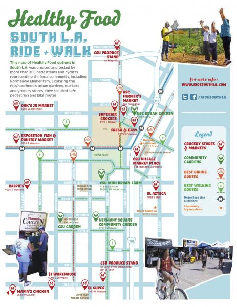 The healthy food map combines safe biking routes with food resources.