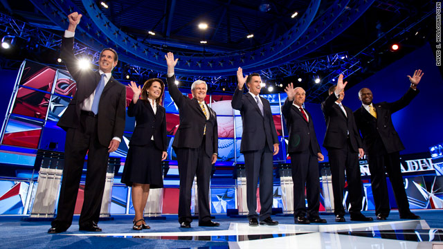 The Republican presidential nominees in a previous debate (CNN)