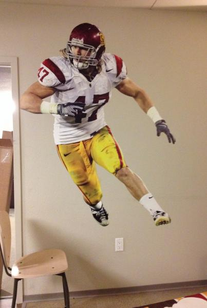 Fathead of Clay Matthews in his USC uniform. (Veronica Werhane/Neon Tommy)