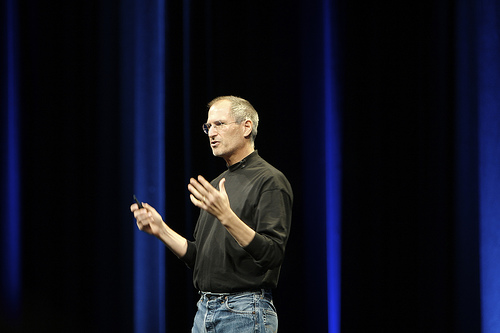 Steve Jobs, former CEO of Apple at a WWDC Conference. Photo courtesy of Creative Commons
