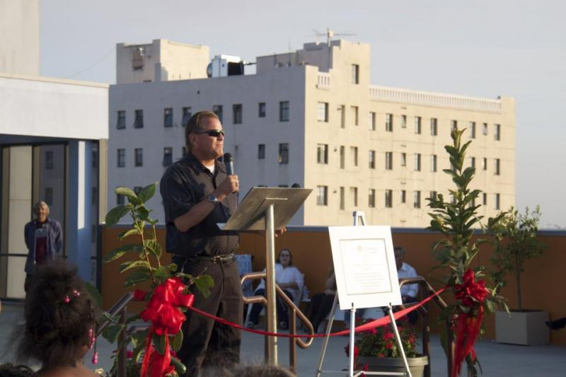 CEO Andy Bales speaks at Union Rescue Mission's September Open House (Unior Rescue Mission's Facebook)