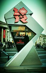 The London Olympics countdown clock.  (Wikimedia Commons)