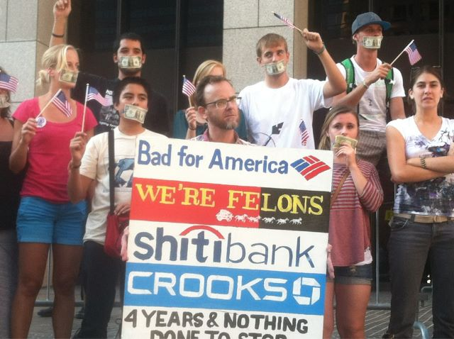 Nick Wagner was arrested at this protest in September at Bank of America.  (Michael Juliani / Neon Tommy)