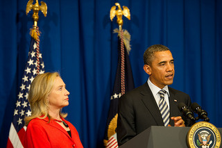 Obama and Secretary of State Hillary Clinton while the president spoke on Burma in 2011.  (Flickr Creative Commons)