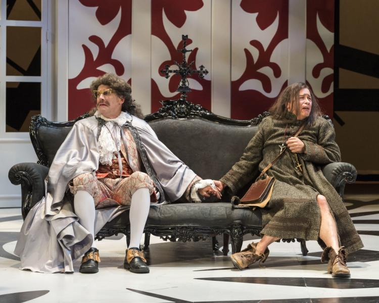 "Geoff Elliott and Freddy Douglas have a love/hate relationship as Orgon and the title character in ""Tartuffe."" Photo by Craig Schwartz."