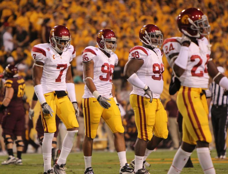 McDonald (No. 7) and the USC D were not satisfied with last September's performance. (James Santelli/NT)