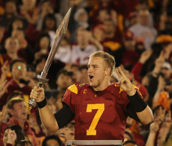Matt Barkley set a new Pac-12 record for TD passes in a season. (Scott Enyeart/Neon Tommy)