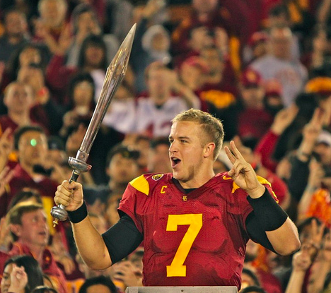 Matt Barkley with a sword. (Scott Enyeart/Neon Tommy)
