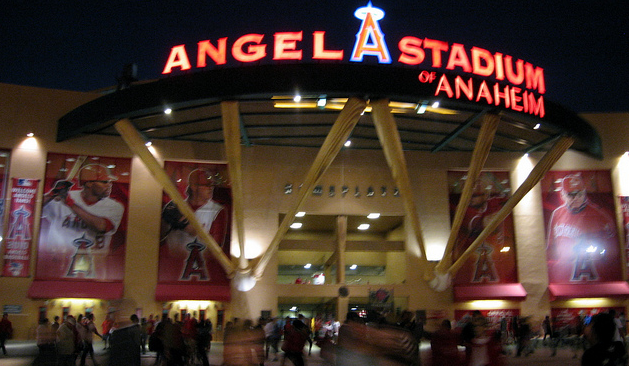 Angel Stadium after dark. (Kwong Yee Cheng/Creative Commons)