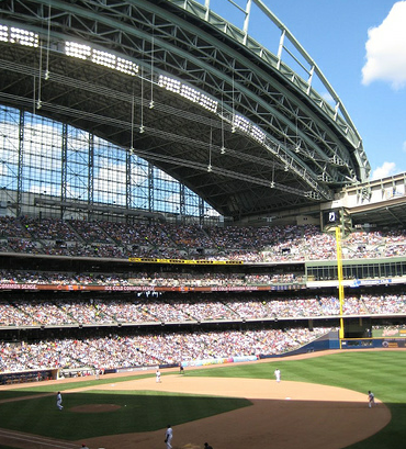 Miller Park's high roof looms over Brewers fans. (architekt2/Creative Commons)