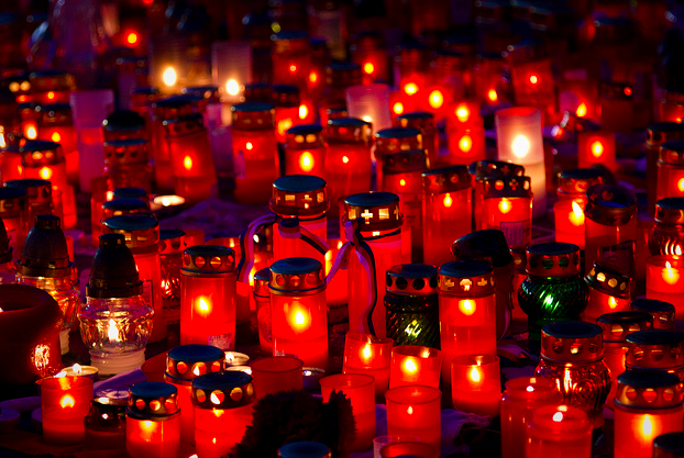 Candles are lit at a memorial in the Czech Republic. (Sara Emry/Creative Commons)