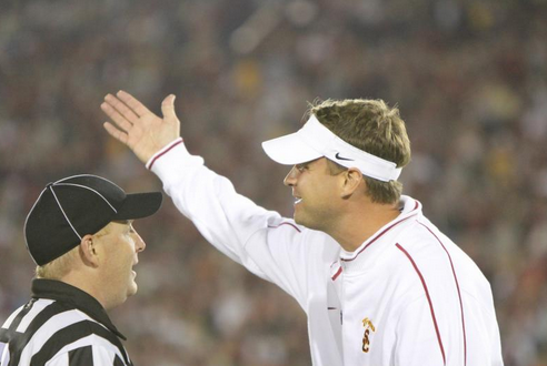 Lane Kiffin is still unhappy over McDonald being flagged in last year's game. (Sara Ramsey/NT)