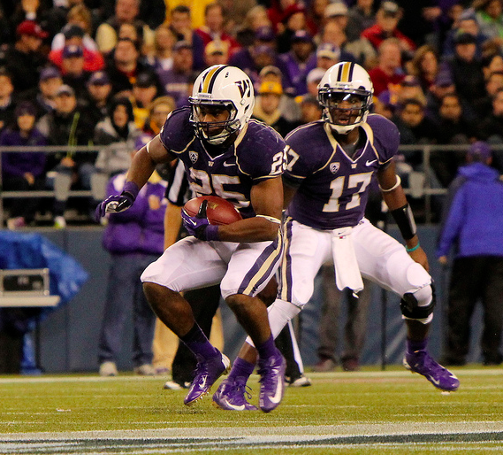 Bishop Sankey and Keith Price led Washington to the upset. (James Santelli/NT)