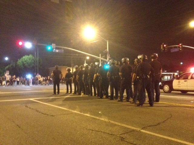 The police were in full riot gear. (Jacqueline Jackson)