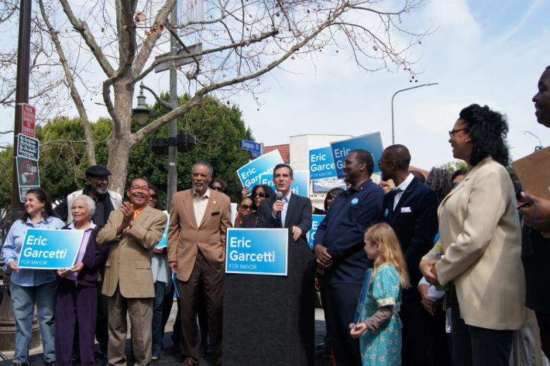 All three African American members of the L.A. City Council rallied with Garcetti in Leimert Park Saturday (Garcetti for Mayor/Facebook).