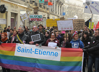 A gay marriage rally held in Lyon in January. Protests for and against gay marriage and adoption have become frequent since President Francois Holland promised to legalize it. (Max xx/Creative Commons)