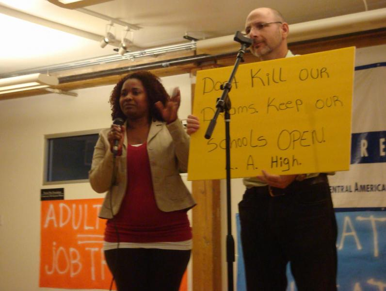 Concerned attendees at Friday's meeting said cutting adult education would leave eligible students without other options. (Shako Liu/Neon Tommy)