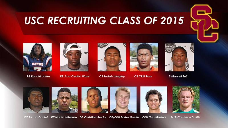 The 2015 defensive recruits for USC. (Jeremy Bergman/NeonTommy)