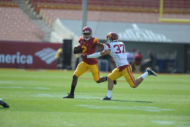 Super-sophomore Adoree' Jackson leads a potent group of skill players (Charlie Magovern/Neon Tommy).