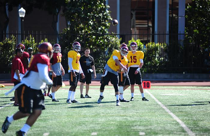 Cody Kessler (6) was more than content with Tuesday's practice (Charlie Magovern/Neon Tommy)
