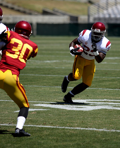 Lost in USC's QB shuffle was that Tre Madden rushed for over 100 yards in Week 1. (Kevin Tsukii/Neon Tommy)
