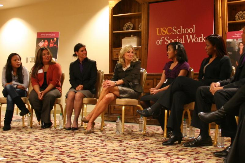 Jill Biden at a roundtable discussion about military families and students (photo by Agnus Dei Farrant).